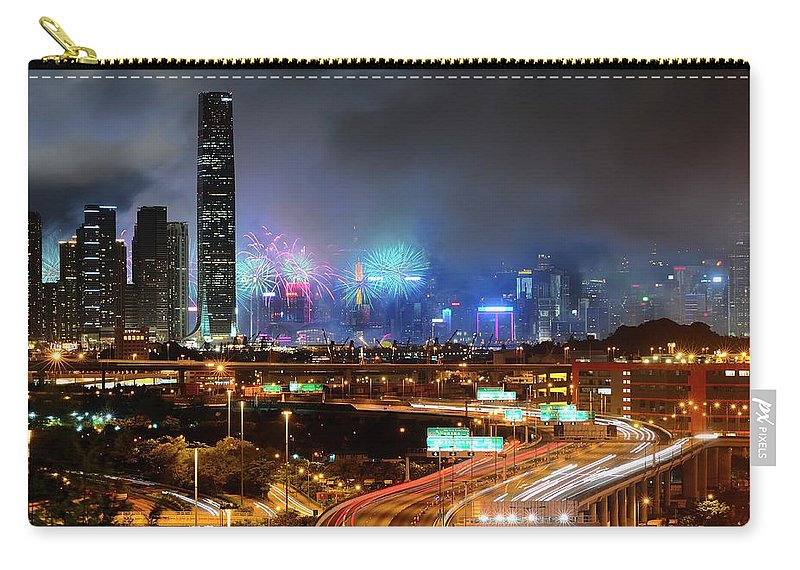 Firework Display Carry-all Pouch featuring the photograph Street Light Crosses Firework by Eddymtl