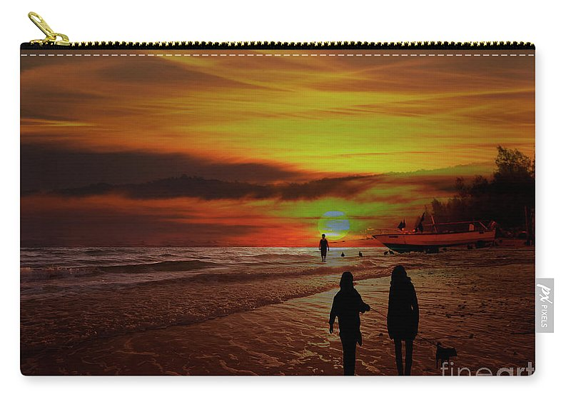 Beach Carry-all Pouch featuring the photograph Strolling The Beach At Olon by Al Bourassa