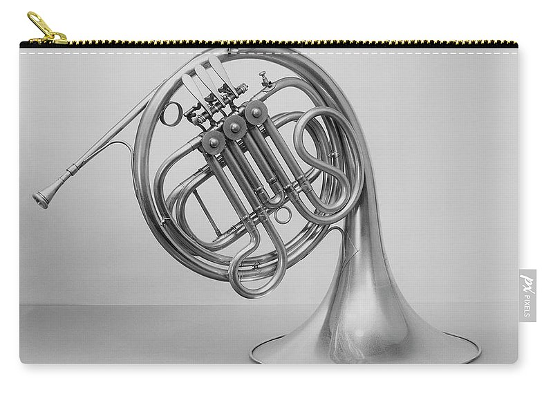 White Background Carry-all Pouch featuring the photograph Studio Shot Of French Horn by George Marks