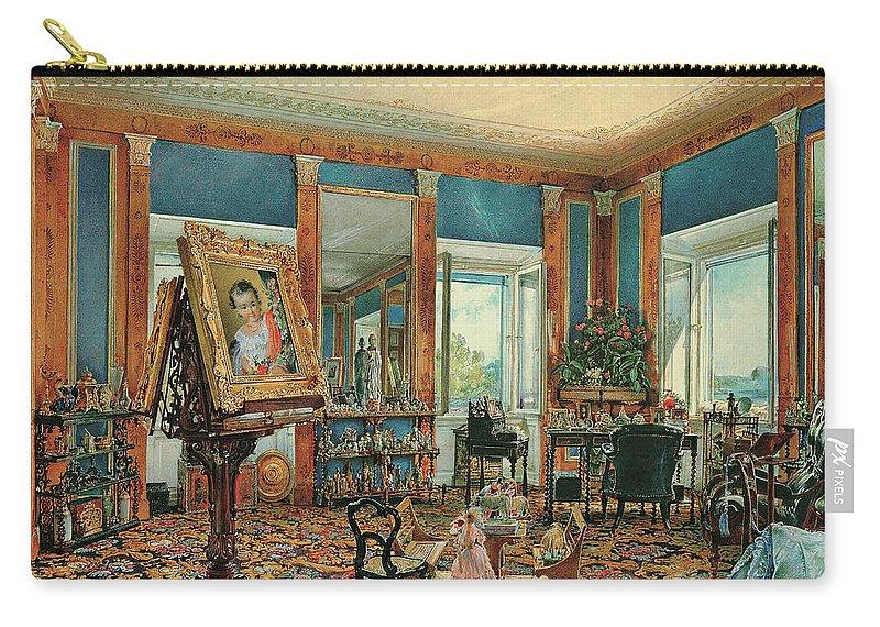 Rudolf Von Alt Carry-all Pouch featuring the painting Study In Palais Rasumofsky On Landstrasse In Vienna    by Rudolf von Alt