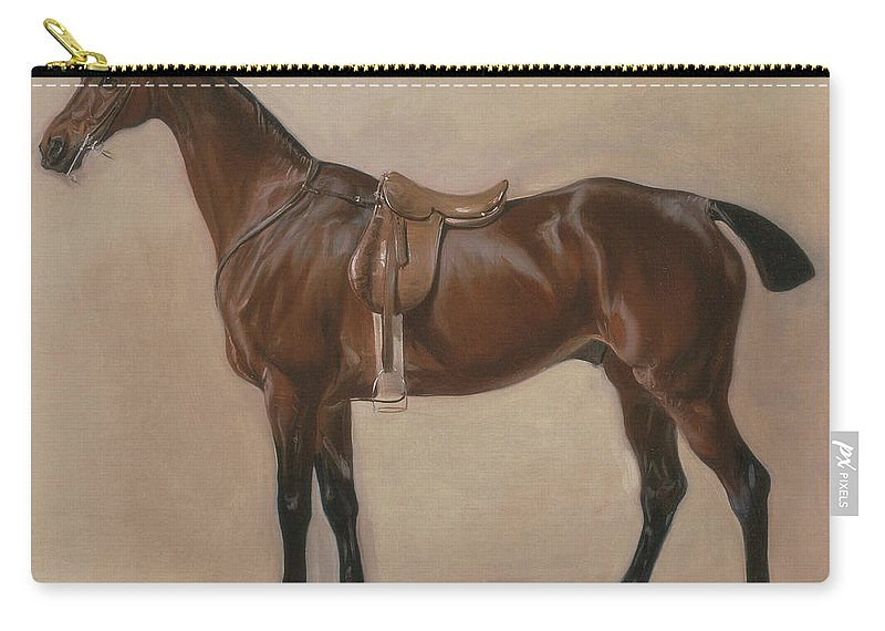Study Of A Saddled Bay Hunter Carry-all Pouch featuring the painting Study Of A Saddled Bay Hunter, 1828 by John E Ferneley