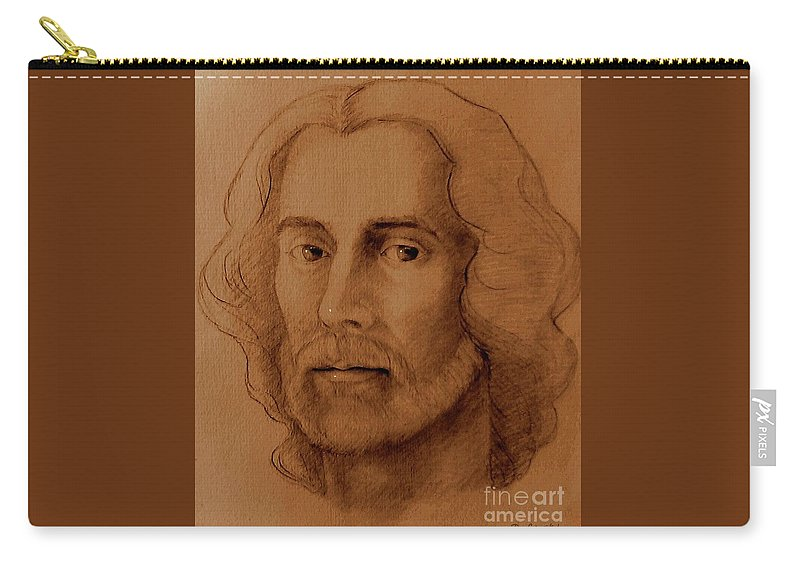 Study Carry-all Pouch featuring the drawing Study Of Head, Drawing by Liliana Pop Schroffel