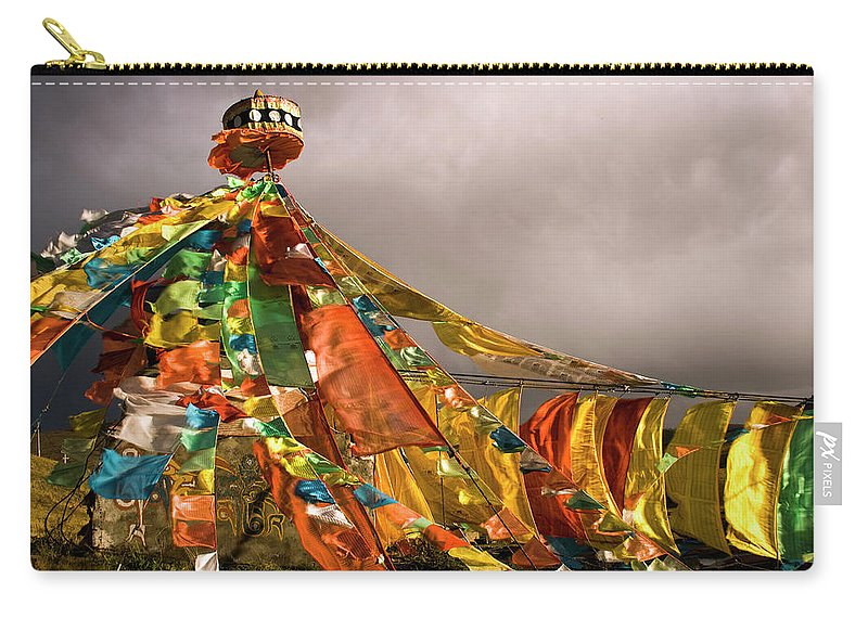 Chinese Culture Carry-all Pouch featuring the photograph Stupa, Buddhist Altar In Tibet, Flags by Stefano Tronci