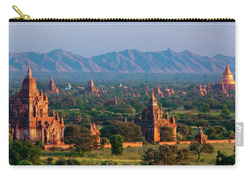 Southeast Asia Carry-all Pouch featuring the photograph Stupas On The Plains Of Bagan, Myanmar by Mint Images/ Art Wolfe