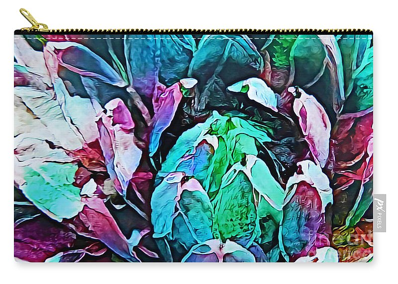 Succulent Abstract #1 Carry-all Pouch featuring the mixed media Succulent Abstract #1 by Trudee Hunter
