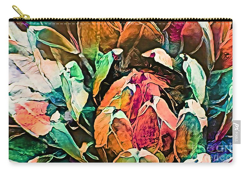 Succulent Abstract #2 This Image Has Been Created By Applying Digital Effects To An Original Photograph Giving It New Dimensions And Textures. Carry-all Pouch featuring the mixed media Succulent Abstract #2 by Trudee Hunter