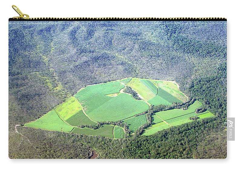 Cairns Carry-all Pouch featuring the photograph Sugar Canefields Carved Out Of Forest by Photography By Mangiwau