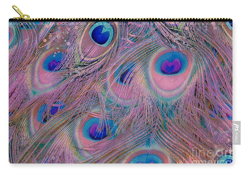 Sugar Peacock Feathers Carry-all Pouch featuring the painting Sugar Peacock Feathers Colorful Pastel Colors by Tina Lavoie