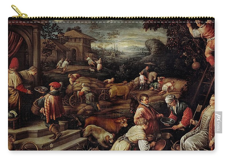 Francesco Bassano Ii (1549-1592) Carry-all Pouch featuring the painting Summer by Francesco Bassano II