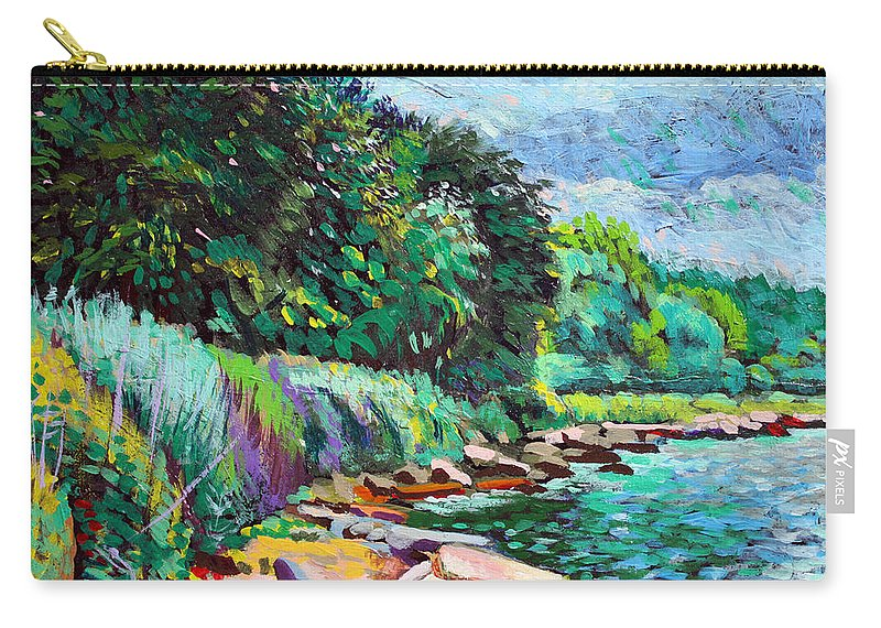 Tranquility Carry-all Pouch featuring the digital art Summer Shore Of Hudson River, New York by Charles Harker