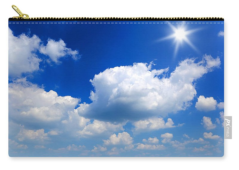 Scenics Carry-all Pouch featuring the photograph Sun And Clouds by Macroworld