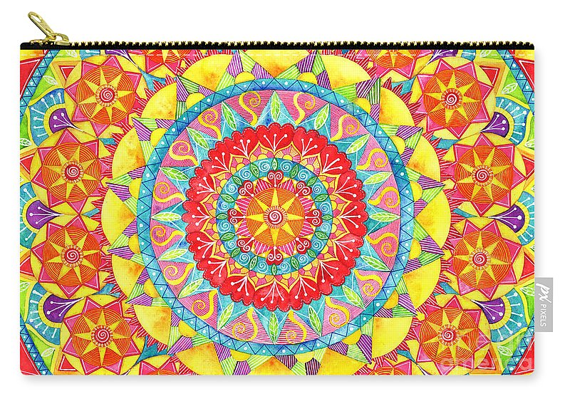 Watercolor Carry-all Pouch featuring the painting Sun Mandala by Shelley Wallace Ylst