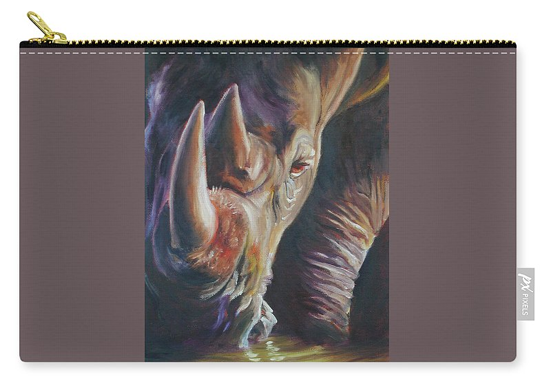 Rhinoceros Carry-all Pouch featuring the painting Sundowner by Robin Stronk