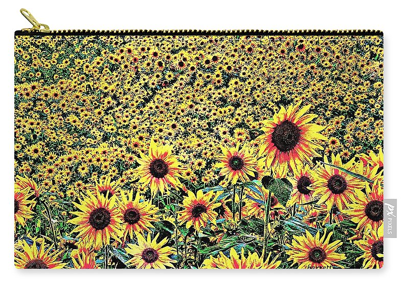 Flowers Carry-all Pouch featuring the digital art Sunflowers In Kansas by Don Barrett