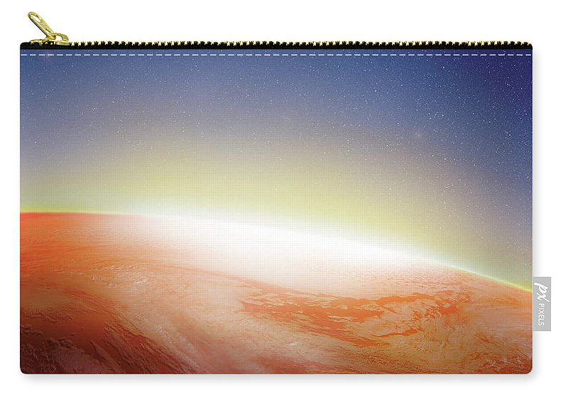 Globe Carry-all Pouch featuring the photograph Sunlight Behind The Earth, Computer by Vgl/amanaimagesrf
