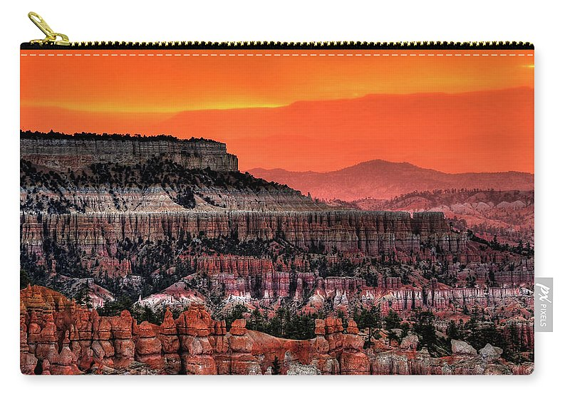 Scenics Carry-all Pouch featuring the photograph Sunrise At Bryce Canyon by Photography Aubrey Stoll