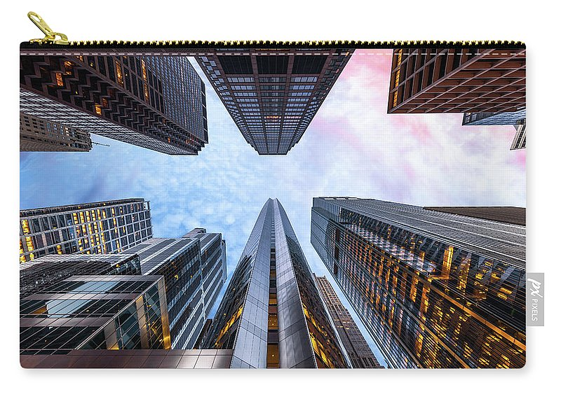 Directly Below Carry-all Pouch featuring the photograph Sunrise, Looking Up, Chicago, Illinois by Joe Daniel Price
