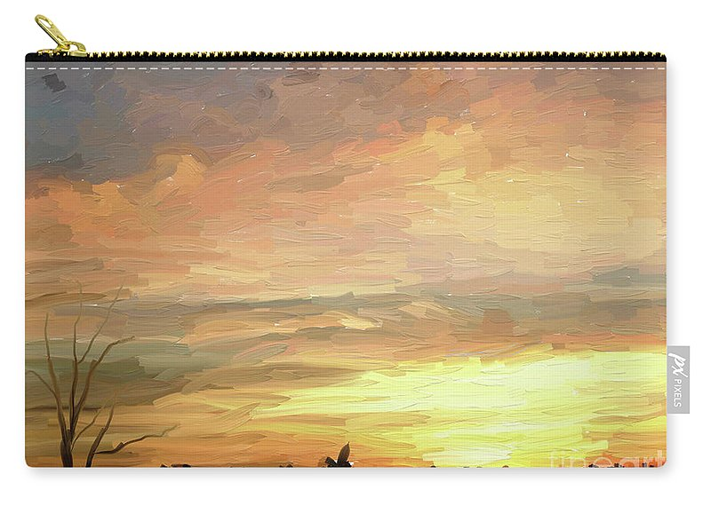 Artrage Oil Carry-all Pouch featuring the digital art Sunset 092118 1a by Henry Mills