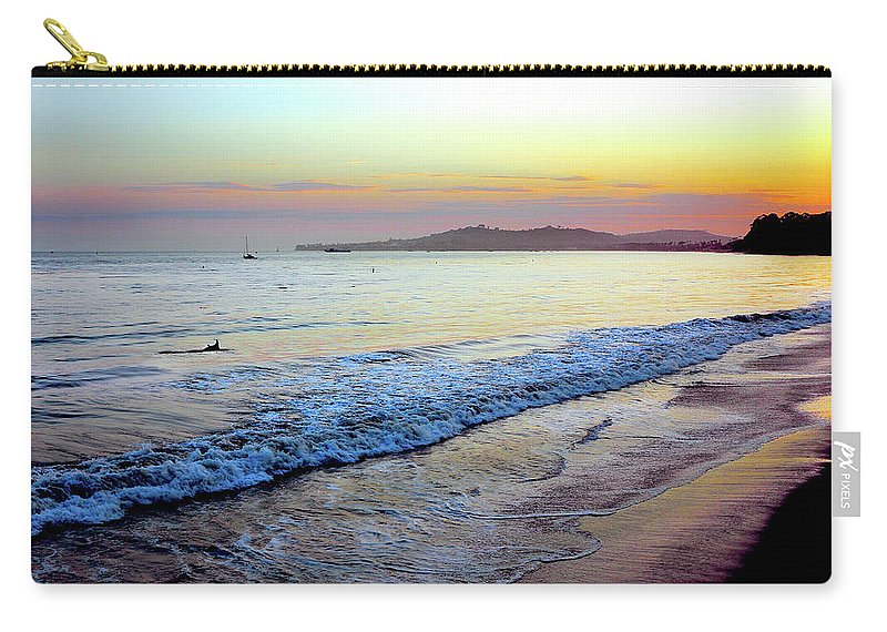 Tranquility Carry-all Pouch featuring the photograph Sunset At Butterfly Beach, Santa by Geri Lavrov