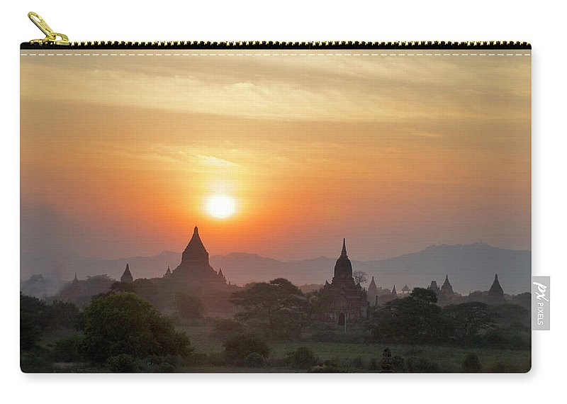 Tranquility Carry-all Pouch featuring the photograph Sunset From Atop The Shwesandaw Paya by Jim Simmen