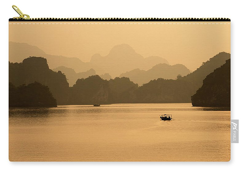 Halong Bay Carry-all Pouch featuring the photograph Sunset, Halong Bay, Vietnam by Yellow Dog Productions