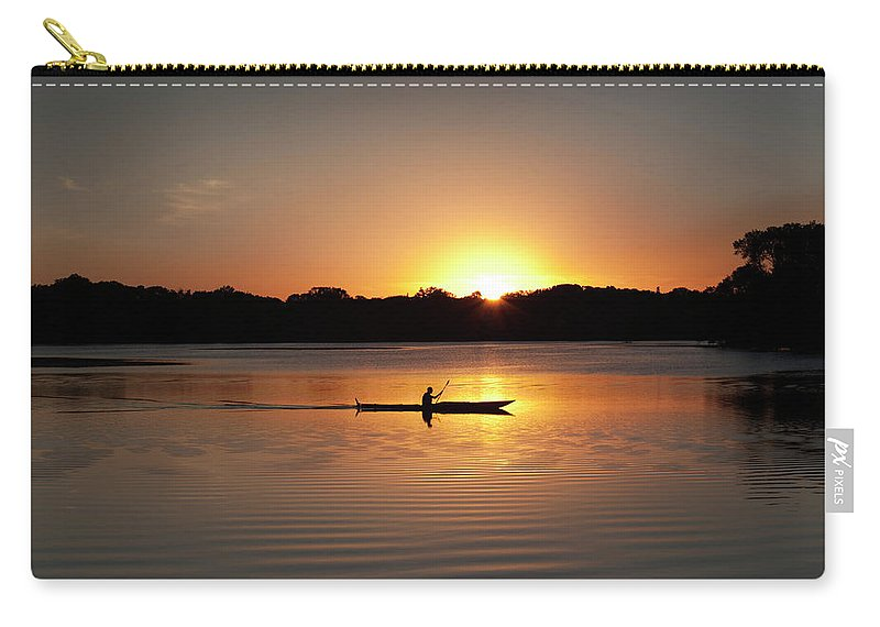 Water's Edge Carry-all Pouch featuring the photograph Sunset Kayaking In Lake Of The Isles by Yinyang