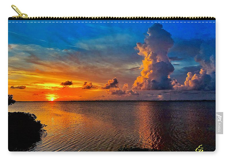 Sunset Carry-all Pouch featuring the photograph Sunset On Cudjoe Bay 8584 by Eddie Rosdhal