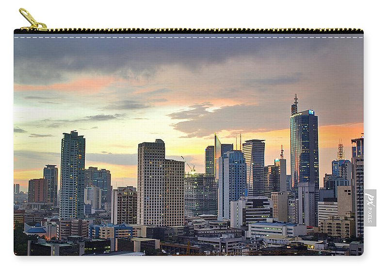 Outdoors Carry-all Pouch featuring the photograph Sunset Over Makati City, Manila by Neil Howard