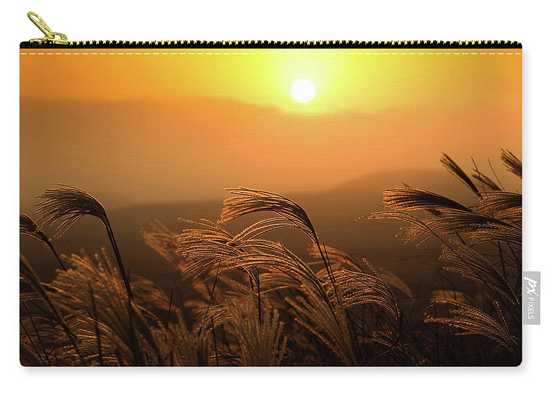 Tranquility Carry-all Pouch featuring the photograph Sunset, Reeds And Wind by Douglas Macdonald
