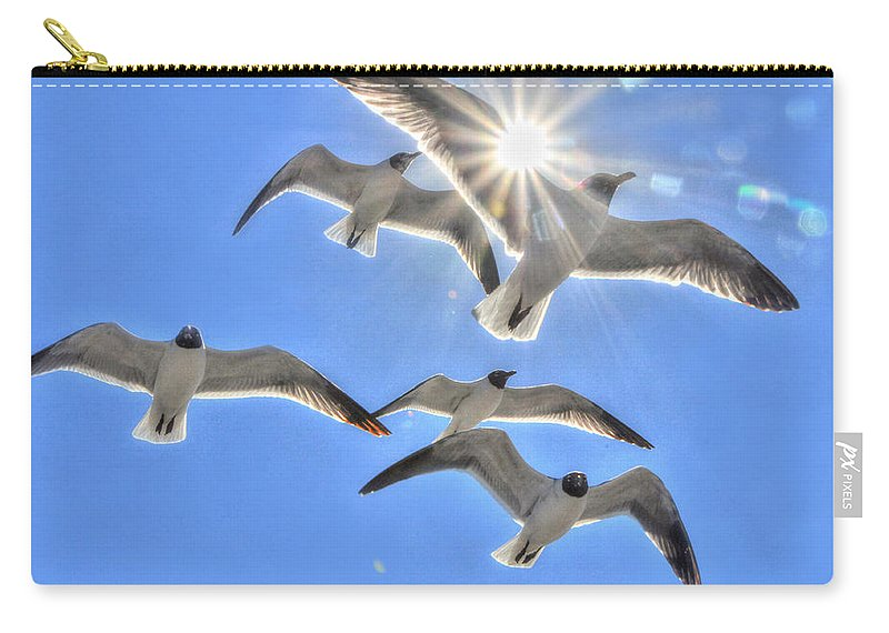 Birds Carry-all Pouch featuring the photograph Sunshine And Seagulls by Charlotte Schafer