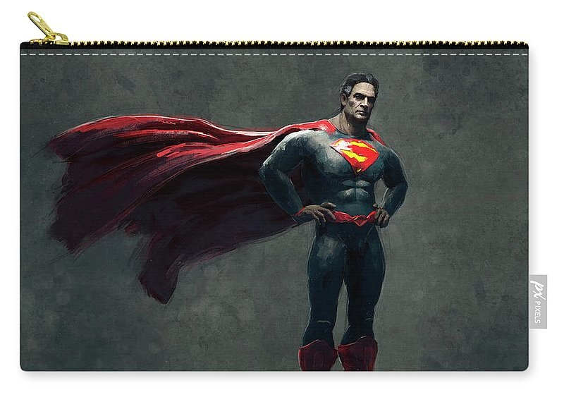 Guillemhp Carry-all Pouch featuring the digital art Superman Sketch 2 by Guillem H Pongiluppi