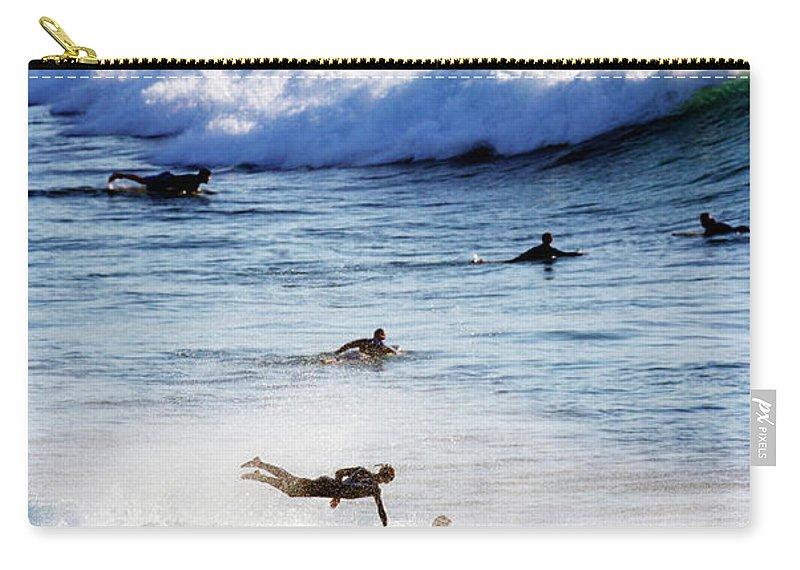 Spray Carry-all Pouch featuring the photograph Surfing At Southern End Of Bondi Beach by Oliver Strewe
