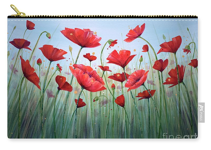 Poppies T-bottom Pouch featuring the painting Surrounded by Annie Troe