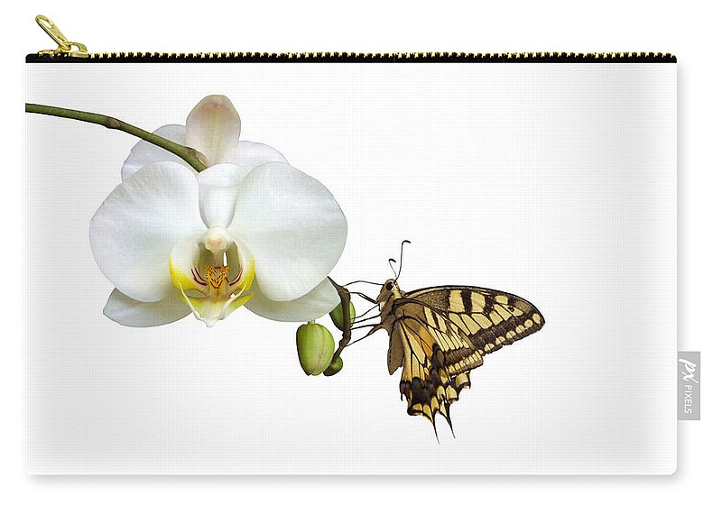 White Background Carry-all Pouch featuring the photograph Swallowtail On White Orchid by Photographerolympus