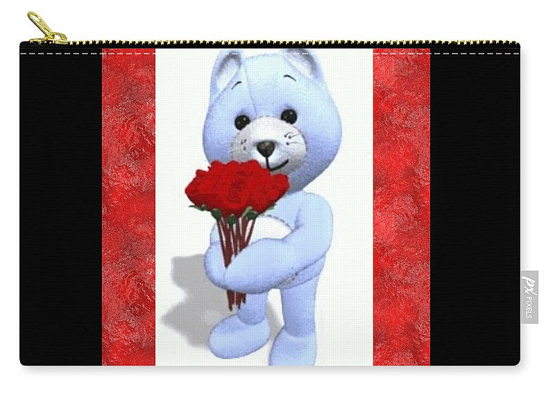 #sweetbear #teddybear #flowers #roses #romantic #romance #neworleansartist #jmstudioartgallery504 #jminternationalincartgallery #valentine #someonespecial #special #love #caring #compassion #sweety #lovable #lover Carry-all Pouch featuring the digital art Sweet Bear by James Maloney