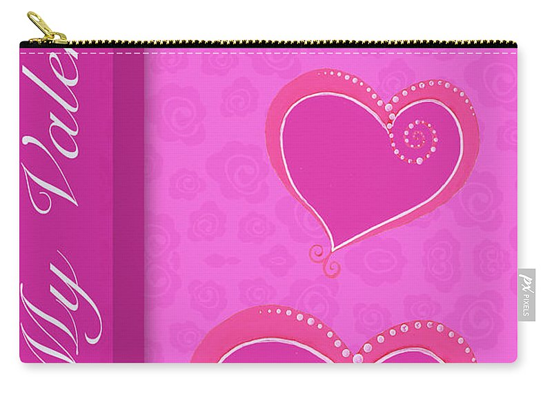 Sweet Carry-all Pouch featuring the mixed media Sweet Pink Valentines IIi by Andi Metz