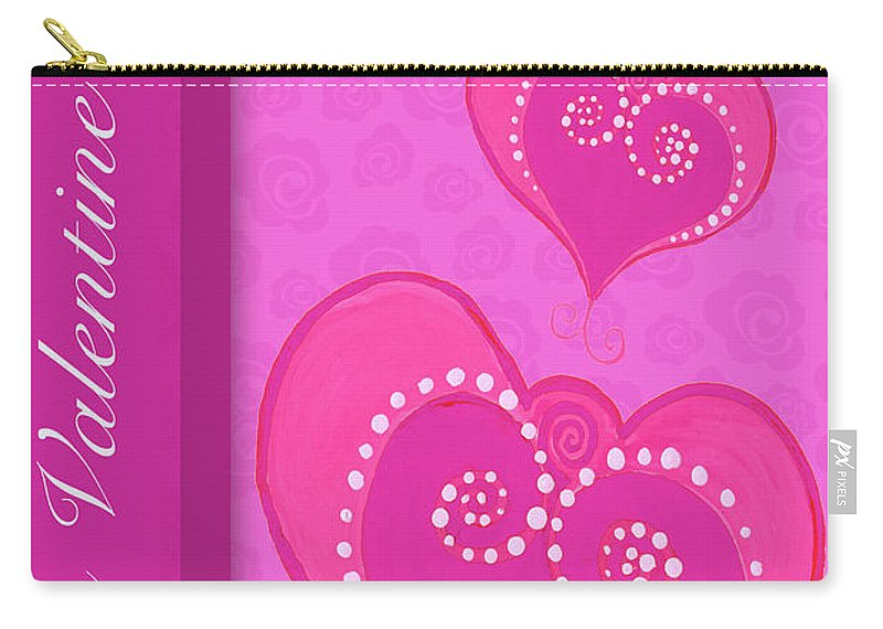 Sweet Carry-all Pouch featuring the mixed media Sweet Pink Valentines Iv by Andi Metz