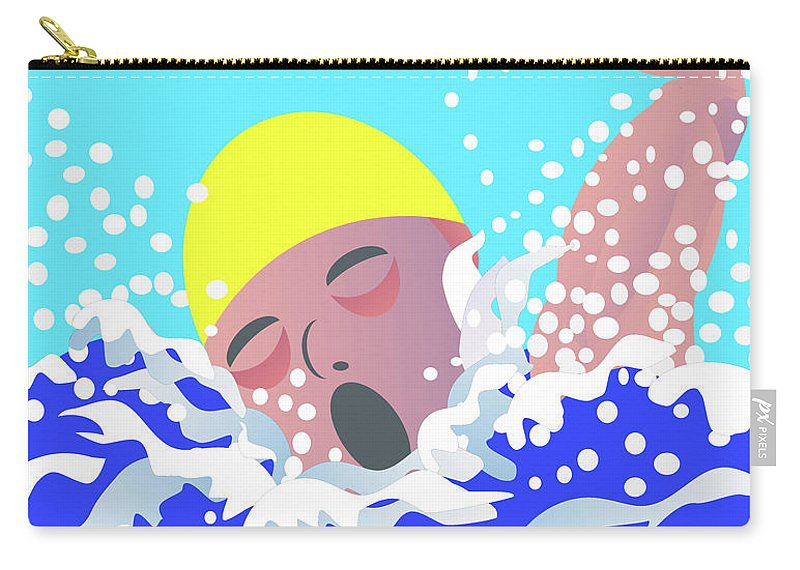 Swimmer Carry-all Pouch featuring the digital art Swimmer by David Pryke