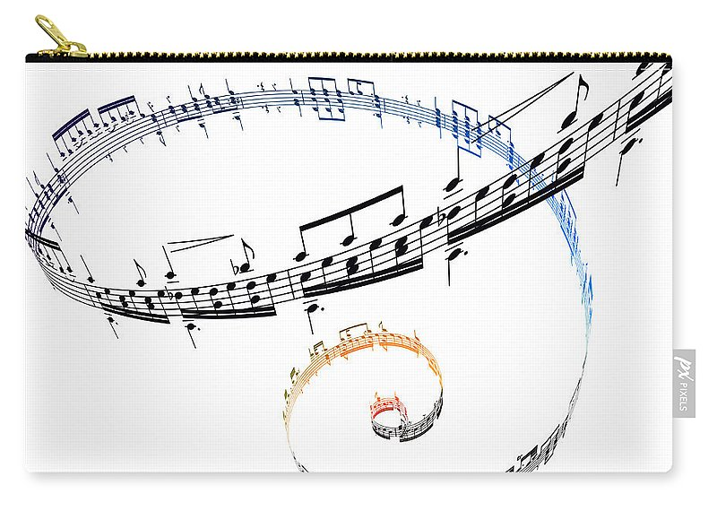 Sheet Music Carry-all Pouch featuring the digital art Swirling Musical Notes Against A White by Ian Mckinnell