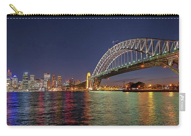 Built Structure Carry-all Pouch featuring the photograph Sydney Harbor Bridge At Night, Sydney by Marco Simoni