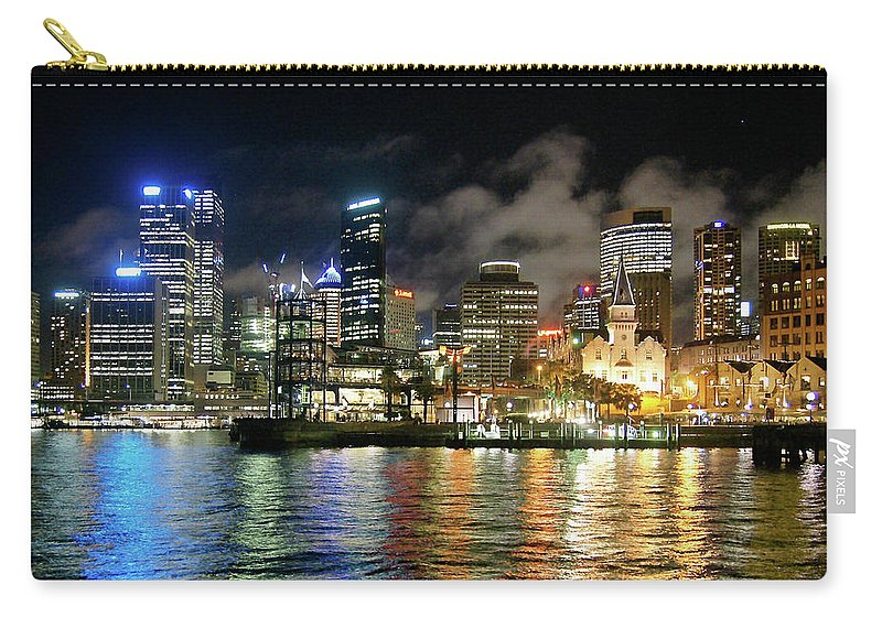 Outdoors Carry-all Pouch featuring the photograph Sydney Harbour At Night - Circular Quay by Gregory Adams