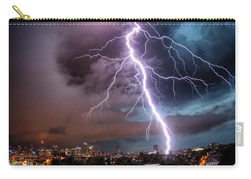 Tranquility Carry-all Pouch featuring the photograph Sydney Summer Lightning Strike by Australian Land, City, People Scape Photographer