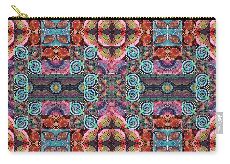 Tjod Mandala Series Puzzle 7 Arrangement 5 Mulitplied By Helena Tiainen Carry-all Pouch featuring the mixed media T J O D Mandala Series Puzzle 7 Arrangement 5 Multiplied by Helena Tiainen