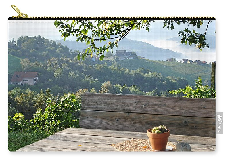 Vineyard Carry-all Pouch featuring the photograph Table At The Vineyard by Teresa Ofner