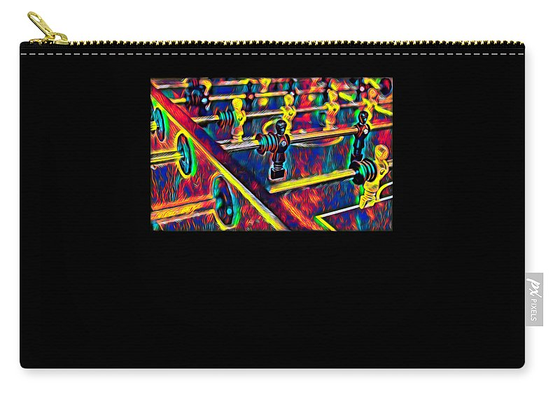 Funny Carry-all Pouch featuring the digital art Table Soccer Sport Fan Design Colored by Super Katillz