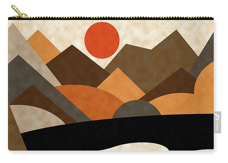Ruth Palmer Carry-all Pouch featuring the digital art Tangerine Sun by Ruth Palmer