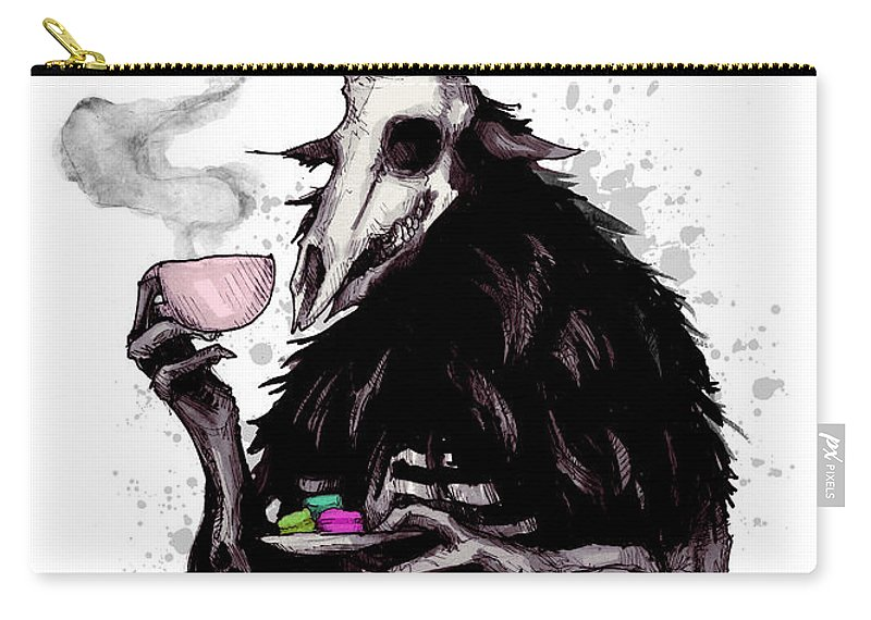 Wendigo Carry-all Pouch featuring the drawing Tea Time by Ludwig Van Bacon