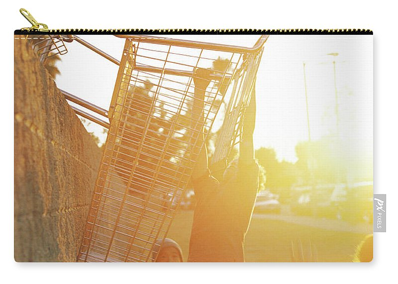 Hanging Carry-all Pouch featuring the photograph Teenage Boys 13-15 Playing Basketball by Sean Murphy