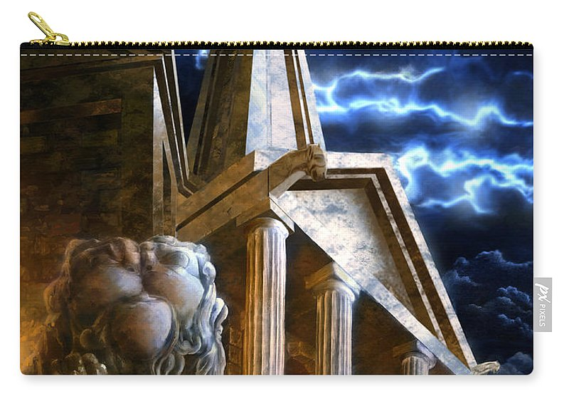 Hercules Carry-all Pouch featuring the drawing Temple Of Hercules In Kassel by Curtiss Shaffer
