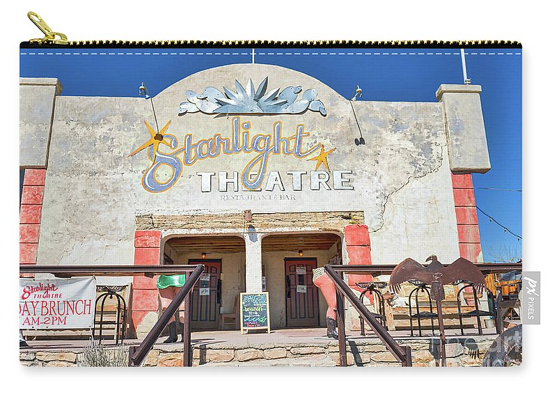 Starlight Theatre Carry-all Pouch featuring the photograph Terlingua Starlight Theatre2 by Tod and Cynthia Grubbs